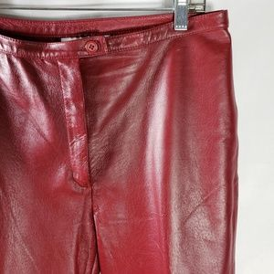 Newport News Women's Red 100% Leather Pants 12